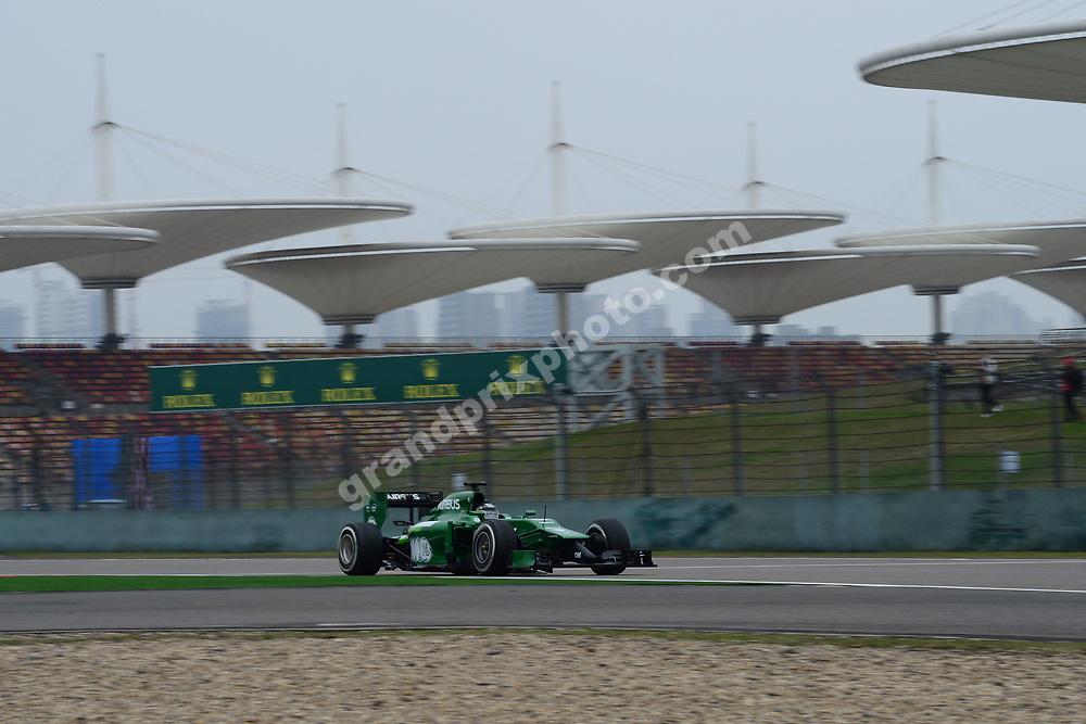 Kamui Kobayashi (Caterham-Renault) during practice for the 2014 Chinese Grand Prix in Shanghai. Photo: Grand Prix Photo