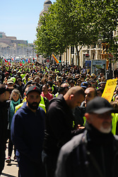 April 27, 2019 - Marseille, France, 27th April 2019. ''Yellow vests'' protests take place in the southern French city of Marseille for the 24th consecutive Saturday with 6,000 thousands demonstrators in the streets and some protesters clashing with the riot police. Gilet jaunes protests have continued this week-end in Frances main cities to challenge President Macron's economic policies with are viewed as supporting inequality and favouring the wealthy and business groups. Protests took place this Saturday despite the recent measures unveiled by the French President to quell the anti-government protests (Credit Image: © Louai Barakat/IMAGESLIVE via ZUMA Wire)