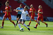 England's Melissa Lawley (12) shoots and  scores the 1st goal. UEFA Womens U19 Championships 2013 match, Wales v England at Parc y Scarlets in Llanelli on Thursday 22nd August 2013. pic by Andrew Orchard ,Andrew Orchard sports photography,
