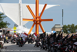 The big homecoming parade, which drew more than 6,000 riders, including many from overseas, through the downtown streets lined by other riders and members of the community that came out to show their support during the Harley-Davidson 115th Anniversary Celebration event. Milwaukee, WI. USA. Sunday September 2, 2018. Photography ©2018 Michael Lichter.