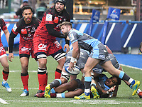 Rugby Union - 2018 / 2019 European Rugby Champions Cup - Pool Three: Cardiff Blues vs. Lyon<br /> <br /> Lewis Jones, of Cardiff Blues: passes the ball out, at Cardiff Arms Park.<br /> <br /> COLORSPORT/WINSTON BYNORTH