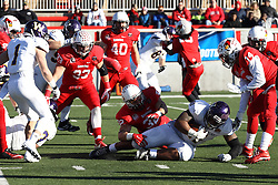 05 December 2015:  Alejandro Rivera(32) stops the progress of Nikko Watson(41). NCAA FCS Round 2 Football Playoff game between Western Illinois Leathernecks and Illinois State Redbirds at Hancock Stadium in Normal IL (Photo by Alan Look)