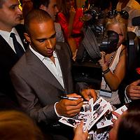 Formula One driver Lewis Hamilton visits Hugo Boss birthday party in Budapest, Hungary. Friday, 30. July 2010. ATTILA VOLGYI