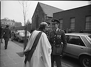 Remembrance Day Service.1983.13.11.1983.11.13.1983.13th November 1983..A remembrance service was held in St Patrick's Cathederal, Dublin,(Poppy Day) to commerate the Irish Fallen who died  whilst on service with the British Army in the two World Wars..Image of High Ranking Officers in the Irish Military being greeted by Dean Griffin on their arrival at the service.