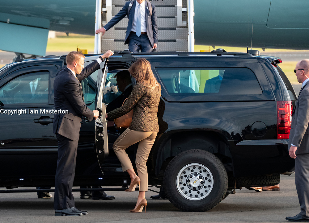 Prestwick Airport, Scotland, UK. 13 July, 2018. President Donald Trump arrives on Air Force One at Prestwick Airport in Ayrshire ahead of a weekend at his golf resort at Trump Turnberry. Melania Trump enters car.