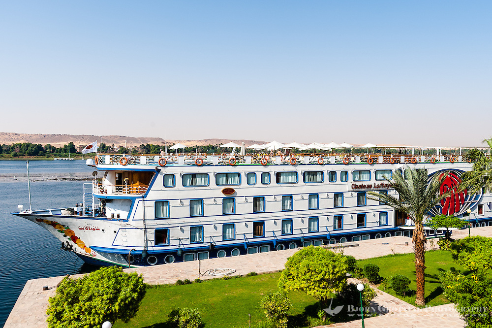 Egypt. Aswan stands on the east bank of the Nile. Our Nile cruise vessel; Chateau Laffayette.