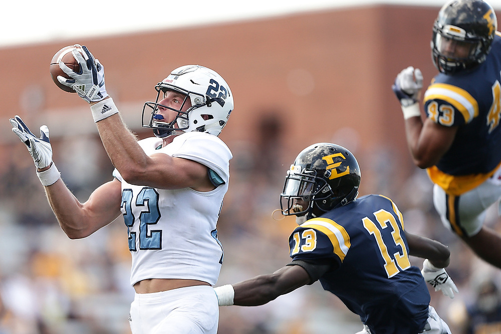 The Citadel's Raleigh Webb (22) catches a pass for a touchdown. <br /> No. 13 The Citadel Bulldogs vs. East Tennessee State Buccaneers at William B. Greene, Jr. Stadium in Johnson City, Tenn. on Saturday, Sept. 16, 2017.<br /> Zach Bland/Citadel Athletics