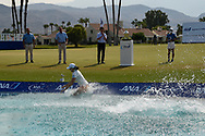 Mirim Lee (KOR) and her caddie jump into the water after winning the 2020 ANA Inspiration, Mission Hills C.C., Rancho Mirage, California, USA. 9/13/2020.<br /> Picture: Golffile | Ken Murray<br /> <br /> All photo usage must carry mandatory copyright credit (© Golffile | Ken Murray)