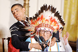US President Barack Obama awards the Presidential Medal of Freedom to Joseph Medicine Crow  during a ceremony in the East Room at the White House on August 12, 2009. Obama awarded 16 individuals the 2009 Presidential Medal of Freedom. Brinker is the founder of Susan G. Photo by Olivier Douliery/ABACAPRESS.COM  | 198277_009 Washington