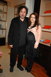 TIM BURTON and HELENA BONHAM-CARTER at a party to celebrate the launch of the book 'Long Way Down' by Ewan McGregor and Charley Boorman held at Smythson, 40 New Bond Street, London W1 on 19th November 2007,<br /><br />NON EXCLUSIVE - WORLD RIGHTS
