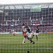 Bradley Wright-Phillips, New York Red Bulls, scores his side only goal of the match during the New York Red Bulls Vs New England Revolution, MLS Eastern Conference Final, first leg at Red Bull Arena, Harrison, New Jersey. USA. 23rd November 2014. Photo Tim Clayton