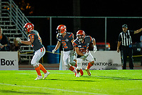 KELOWNA, BC - AUGUST 3:  Jonah Williams #34 of Okanagan Sun runs with the ball against the Kamloops Broncos  at the Apple Bowl on August 3, 2019 in Kelowna, Canada. (Photo by Marissa Baecker/Shoot the Breeze)
