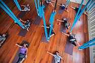 20170305, Sunday, March 5, 2017, San Pedro, Ambergris Caye, Belize, Central America – Science and Soul Wellness at Mahogany Bay Village website imagery development project scenes of Belize and community at and around Mahogany Bay Village Sunday, March 5, 2017. Inaugural aerial yoga class in the main practice space at Science and Soul Wellness.<br /> <br /> ( lightchaser photography © 2017 )
