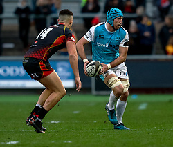 Justin Tipuric of Ospreys<br /> <br /> Photographer Simon King/Replay Images<br /> <br /> Guinness PRO14 Round 12 - Dragons v Ospreys - Sunday 30th December 2018 - Rodney Parade - Newport<br /> <br /> World Copyright © Replay Images . All rights reserved. info@replayimages.co.uk - http://replayimages.co.uk