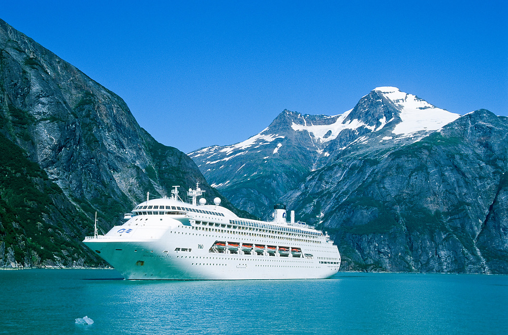 Alaska. Tongass National Forest. Tracy Arm - Fords Terror Wilderness, cruise ship Regal Princess in Tracy Arm.