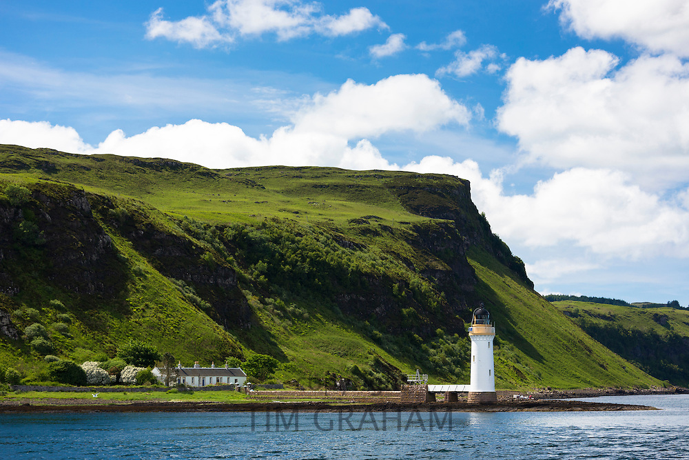 Lighthouse on Sound of Mull near Tobermory on the Isle of Mull in the Western Isles of Scotland - Inner Hebrides