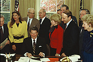 Washington, DC 1984/11/29 President Ronald Reagan  meeting with Representative of the  Alzheimers Disease Foundation in the Oval Office<br /> <br /> <br /> Photo by Dennis Brack