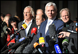 WikiLeaks founder Julian Assange talks to members of the media as he leaves The High Court, London. Mr Assange has failed in his bid to stop his extradition to Sweden to face sexual assault allegations, Wednesday November 2, 2011 Photo By Andrew Parsons/ i-Images.
