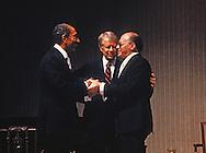 President Jimmy Carter, President Anwar Sadat, and Prime Minister Menachem Begin during toast at a state dinner on April 8, 1980<br /> <br /> Photograph by Dennis Brack<br /> bb45