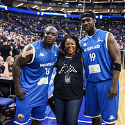 """London,England,UK. 14th May 2017. Adebayo Akinfenwa and nicknamed """"The Beast"""", is an English professional footballer player of charity Game at the BBL Play-Off Finals also fundraising for Hoops Aid 2017 but also a major fundraising opportunity for the Sports Traider Charity at London's O2 Arena, UK. by See Li"""