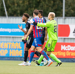 Falkirk's Myles Hippolyte and Inverness Caledonian Thistle's Brad McKay have words off the ball. Falkirk 0 v 0 Inverness Caledonian Thistle, Scottish Championship game played 14/10/2017 at The Falkirk Stadium.