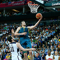 08 August 2012: Australia Joe Ingles goes for the layup during 119-86 Team USA victory over Team Australia, during the men's basketball quarter-finals, at the 02 Arena, in London, Great Britain.