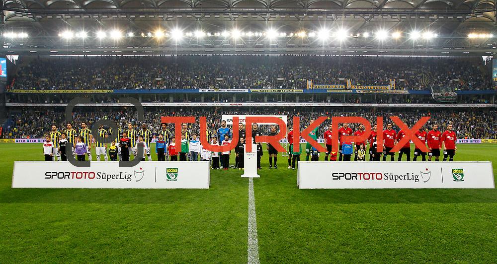 Fenerbahce's and Eskisehirspor's players during their Turkish superleague soccer match Fenerbahce between Eskisehirspor at Sukru Saracaoglu stadium in Istanbul Turkey on Sunday 14 April 2013. Photo by Aykut AKICI/TURKPIX