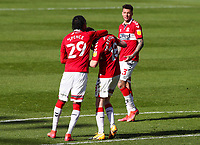 Middlesbrough's Duncan Watmore celebrates scoring his side's third goal with Djed Spence<br /> <br /> Photographer Alex Dodd/CameraSport<br /> <br /> The EFL Sky Bet Championship - Middlesbrough v Sheffield Wednesday - Saturday 24th April 2021 - Riverside Stadium - Middlesbrough<br /> <br /> World Copyright © 2021 CameraSport. All rights reserved. 43 Linden Ave. Countesthorpe. Leicester. England. LE8 5PG - Tel: +44 (0) 116 277 4147 - admin@camerasport.com - www.camerasport.com