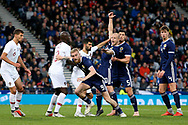 Scotland forward Oliver McBurnie (9) (Swansea City)  makes a run as Scotland forward Steven Naismith (10) (Heart of Midlothian)  gets held in the box during the Friendly international match between Scotland and Portugal at Hampden Park, Glasgow, United Kingdom on 14 October 2018.