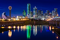 View of downtown Dallas and Trinity River from Jefferson Viaduct, Dallas, Texas
