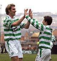Clyde v Celtic, ScottishCup  quarter final, Broadwood Stadium, Cumbernauld. Sunday 27/02/2005<br /> Stan Varga celebrates with Juninho after scoring for Celtic