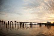U Bein Bridge is a wooden footbridge, stretching 1.2km and all made from teak. Mandalay, Myanmar