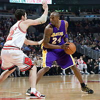 15 December 2009: Chicago Bulls guard Kirk Hinrich defends on Los Angeles Lakers guard Kobe Bryant during the Los Angeles Lakers 96-87 victory over the Chicago Bulls at the United Center, in Chicago, Illinois, USA.