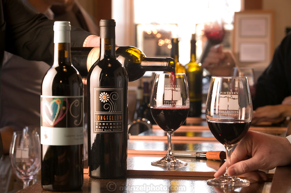 The Vintner's Collective, Napa, California. Napa Valley. Located in Napa's oldest commercial building built in 1875, the collective features wines from nearly 20 small wineries that can be tasted at the bar. Pouring 2001 Mi Sueno Cabernet Suavignon.