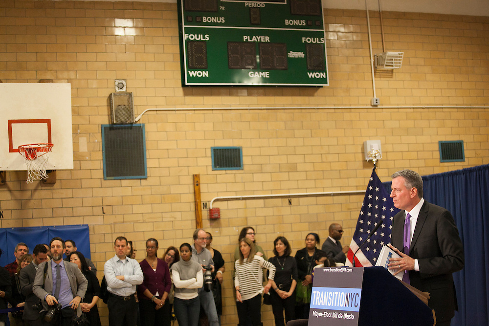Mayor-Elect Bill de Blasio announces his appointment of Carmen Fariña as Schools Chancellor at William Alexander Middle School in Park Slope, Brooklyn, NY on Monday, Dec. 30, 2013.<br /> <br /> CREDIT: Andrew Hinderaker for The Wall Street Journal<br /> SLUG: NYSTANDALONE
