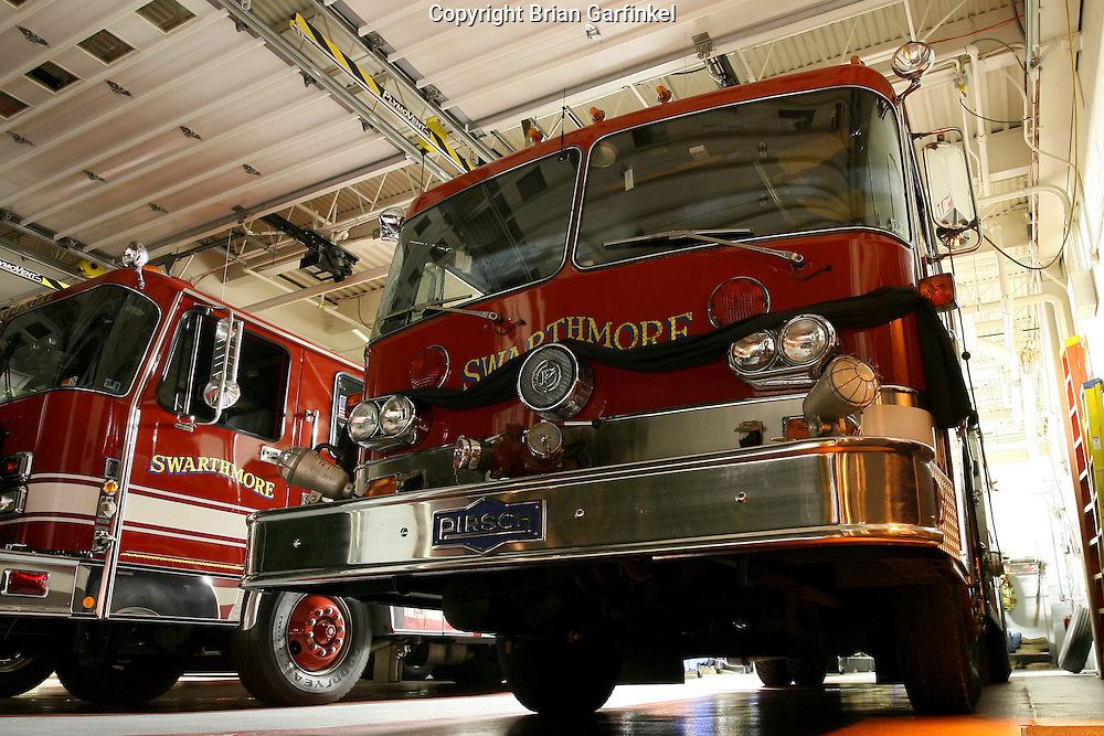 Swarthmore, PA - Swarthmore Fire Department Apparatus are draped in black bunting immediately after Cheif Cris Hansen passed away after a long fight with cancer. Engine 14-1 is a 1982 Peter Pirsch Structural Pumper