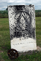 17 July 2009:  Hittle Grove cemetery, historical burial site of the Orndorff - Albright massacre of 1860, is located in Tazwell County Illinois.<br /> <br /> <br />  About the massacre:<br /> <br /> On the morning of the 12th of Oct. A.D. 1860, the husband and father in whose memory this monument is erected, was called away on business, from his residence three miles southeast of Delavan, Illinois, where he left his family, consisting of his wife and two small daughters.  At his return, no little ones ran to greet him, as was their custom, and at once alarm for the welfare of those dear ones took hold on his heart.  Entering the house, he found his wife and daughters, whom he had left in perfect health and joyful spirits but a few hours before, had been cruelly murdered during his absence, and were now lying prostrate and weltering in their blood.  The mother and younger daughter - alas - dead.  The older daughter was still living and moaning piteously but unable to whisper one word in a father's ear.  At four o'clock next morning, death ended her suffering.  Kind friends bore them in one coffin, to their last resting place.<br /> <br /> The murderer, a former hired hand, was robbing the family. He killed the family in order to cover up the crime.  He was later found hiding in a corn crib in Logan County and returned to Pekin where he became the first man to be hung in Tazewell County.