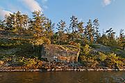 Pictographs on shoreline rocks of Lake of teh Woods<br /> Morson<br /> Ontario<br /> Canada