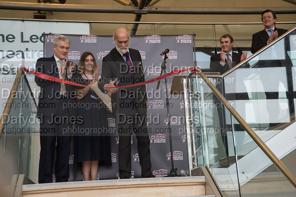 CUTTING THE RIBBON: ANDREW JONES: PRINCE MICHAEL OF KENT; NIGEL MANSELL; ALEC MUMFORD Preview for The London Motor Show, Battersea Evolution. London. 5 May 2016