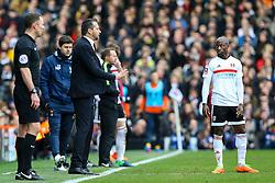 Fulham manager Slavisa Jokanovic stand talking to Sone Aluko of Fulham - Mandatory by-line: Jason Brown/JMP - 19/02/2017 - FOOTBALL - Craven Cottage - Fulham, England - Fulham v Tottenham Hotspur - Emirates FA Cup fifth round