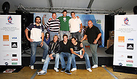 Photo: Paul Thomas/Sportsbeat Images.<br />South Africa Reception at Rugby Town. 21/10/2007.<br /><br />South African players (L-R) Victor Matfield, Percy Montgomery, Jake White (Coach) Butch James, Danie Rossouw, Fourie Du Preez, Juan Smith and CJ van der Linde.