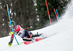 """Trevor Philp (CAN) competes during 1st Run of FIS Alpine Ski World Cup 2017/18 Men's Slalom race named """"Snow Queen Trophy 2018"""", on January 4, 2018 in Course Crveni Spust at Sljeme hill, Zagreb, Croatia. Photo by Vid Ponikvar / Sportida"""