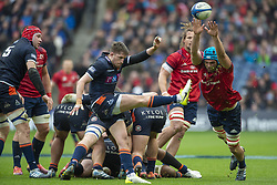 March 30, 2019 - Edinburgh, Scotland, United Kingdom - Henry Pyrgos of Edinburgh kicks the ball during the Heineken Champions Cup Quarter Final match between Edinburgh Rugby and Munster Rugby at Murrayfield Stadium in Edinburgh, Scotland, United Kingdom on March 30, 2019  (Credit Image: © Andrew Surma/NurPhoto via ZUMA Press)