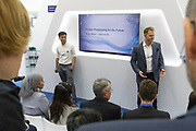 Bryan Baum, Co-Founder, Blue Vision Labs, United Kingdom and<br /> Chen Qiufan, Chief Creative Officer, Thema Mundi Studio, People's Republic of China; Cultural Leader<br /> during the session: Fiction Prototyping for the Future at the World Economic Forum - Annual Meeting of the New Champions in Tianjin, People's Republic of China 2018.Copyright by World Economic Forum / Greg Beadle