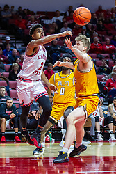 NORMAL, IL - February 15: Zach Copeland passes off when cahllenged by Ben Krikke during a college basketball game between the ISU Redbirds and the Valparaiso Crusaders on February 15 2020 at Redbird Arena in Normal, IL. (Photo by Alan Look)