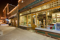 """""""Art Obsessions in Downtown Truckee 2"""" - Photograph of the Art Obsessions gallery in snowy Downtown Truckee, CA."""