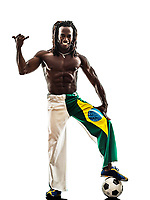 one Brazilian black man soccer player on white background