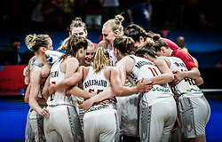 Players of Belgium celebrate after winning during basketball match between Women National teams of Belgium and Slovenia in the Qualification for the Quarter-Finals of Women's Eurobasket 2019, on July 2, 2019 in Belgrade Arena, Belgrade, Serbia. Photo by Vid Ponikvar / Sportida