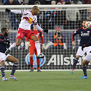 Thierry Henry, New York Red Bulls, watches Scott Caldwell, New England Revolution, head clear during the New England Revolution Vs New York Red Bulls, MLS Eastern Conference Final, second leg. Gillette Stadium, Foxborough, Massachusetts, USA. 29th November 2014. Photo Tim Clayton