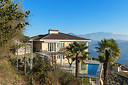 Architecture, house with pool and panoramic view